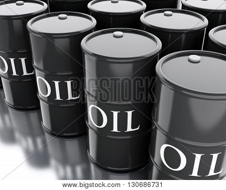 3d renderer image. Black barrels of oil. Business concept.