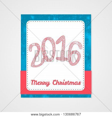 Happy new 2016 year. Letters with doodle abstract pattern. Christmas collection. Vector illustration.