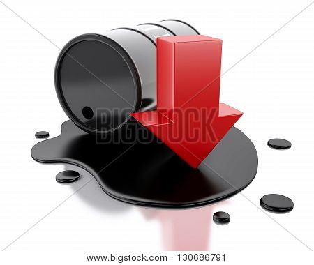 3d renderer image. One barrel of oil spilled with an arrow pointing down. Isolated white background.
