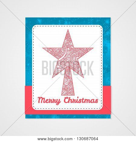 Toys on christmas tree - star. Christmas collection. Zentangle stylized vector illustration.