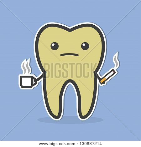 Sad dark tooth with coffee and cigarette. Good for teeth whitening and bleaching concept. Vector illustration