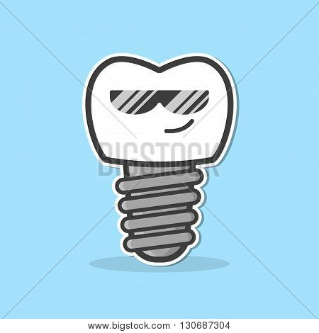 Cartoon dental implant. Smiling tooth implant. Funny vector illustration