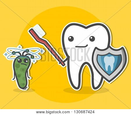 Tooth with toothbrush and shield and prostrate bacterium. Teeth hygiene concept. Dental vector illustration.
