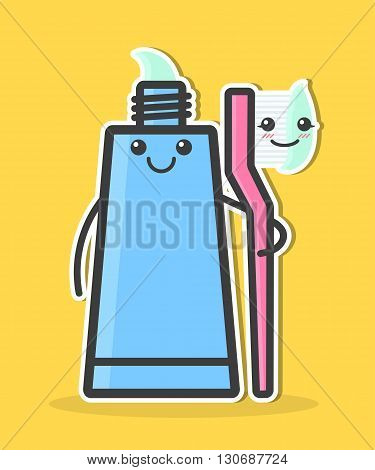 Cartoon toothpaste and toothbrush. Teeth hygiene concept. Funny vector illustration