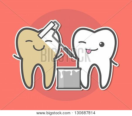 Teeth whitening concept.Tooth painting him friend. Dental vector illustration