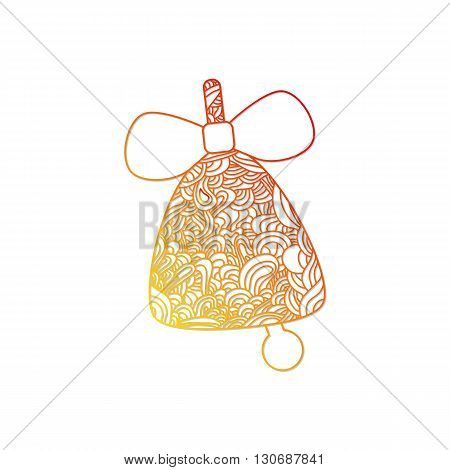 Toys on christmas tree - Bell. Christmas collection. Christmas collection. Doodle stylized vector illustration.