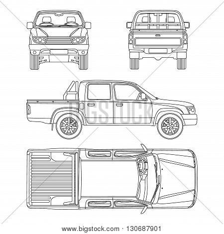 Pickup truck all view vector illustration blueprint