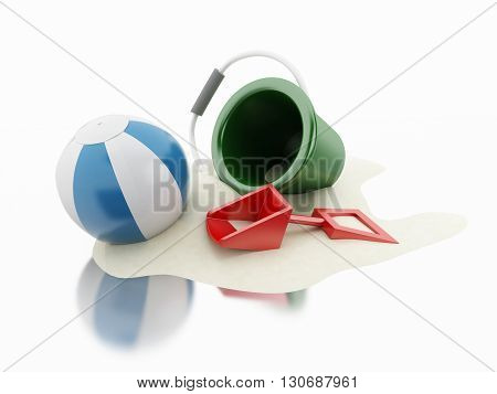 3d renderer image. Beach toys and sand. Holidays concept. Isolated white background.