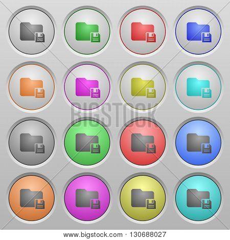 Set of save folder plastic sunk spherical buttons.
