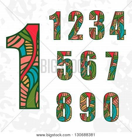 Set of doodle numbers with abstract pattern. Vector illustration.