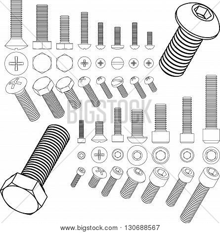 Screw bolt nut set drawing isometric outline