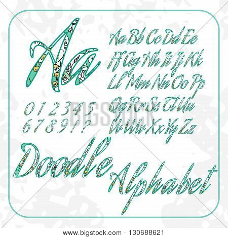 Doodle alphabet and numbers with hand drawn abstract floral pattern.