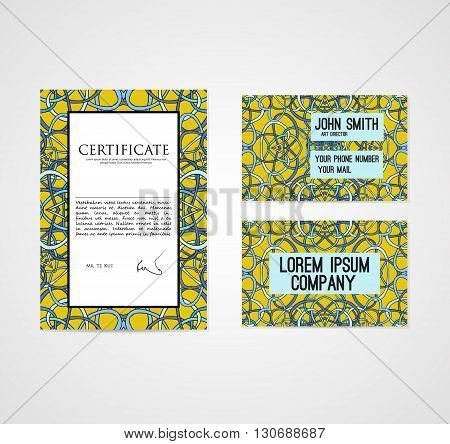Set of graphic design template document and business card with hand drawn ornament in bright colors