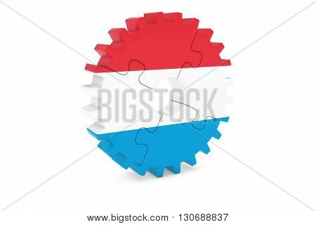 Luxembourgian Industry Concept - Flag Of Luxembourg 3D Cog Wheel Puzzle Illustration