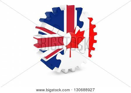 British And Canadian Cooperation Concept 3D Illustration