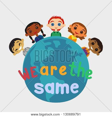 Motivated illustration of nations friendship United Kids. Concept of unity different nationalities. Kids of different nations friendship. Different nations are united friends. vector illustration.