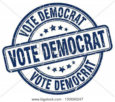 vote democrat blue grunge round vintage rubber stamp