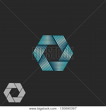 Abstract Intersection Blue Gradient Lines Logo, Endless Loop Geometric Shape, Infinite Aperture Embl