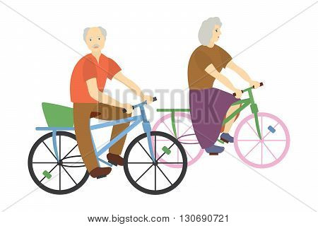Isolated on white background photo with a pair of grandparents on bicycles, vector illustration.