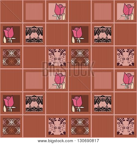 Patchwork floral roses pattern brown background with decorative elements