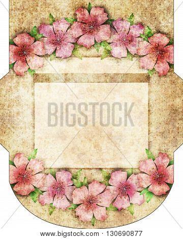Vintage grunge flower design envelope cut envelope template