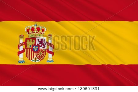 Flag of Spain officially the Kingdom of Spain is a sovereign state largely located on the Iberian Peninsula in southwestern Europe