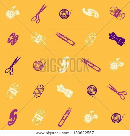 seamless pattern with multicolor sewing supplies and tools