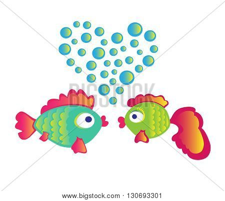 Love fishes on white background. Vector Illustration