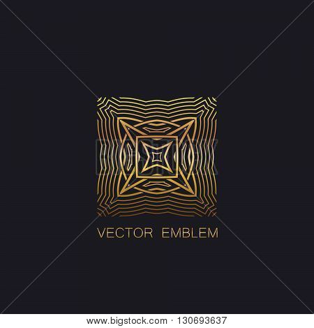 vector floral golden emblem. art-deco golden emblem. golden monogram sign. art-deco line art element for design. golden celtic ornament for design. vector golden emblem
