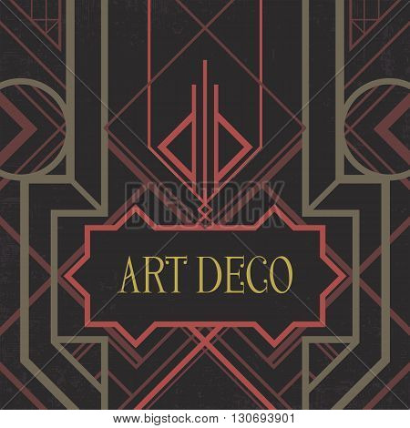 Dark artdeco abstract geometric background. Art deco style, trendy vintage design element. Pastel pink and green grill on a black messy backdrop. Decorative template with geometric parallel lines.