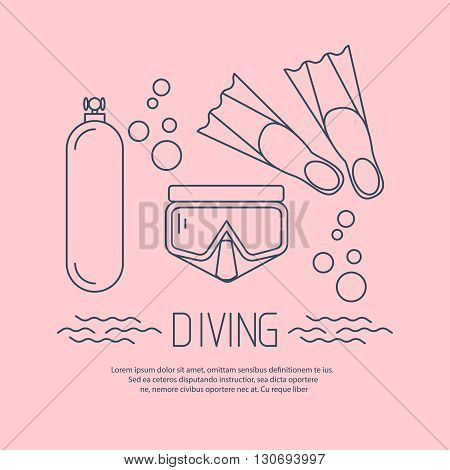 Diving icon with flippers and other equipment. Vector