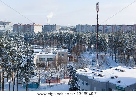 view from a great height on a winter city