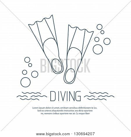 Diving icon with flippers and obubbles. Vector