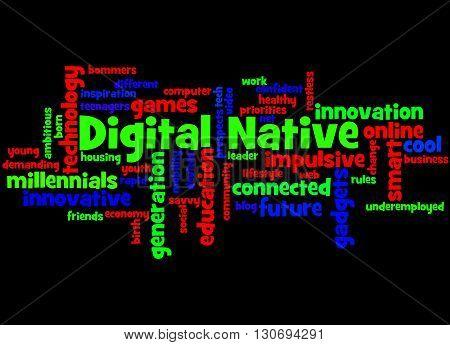 Digital Native, Word Cloud Concept 9