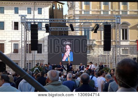 ROME ITALY - MAY 21 2016: Marco Pannella funerary commemoration in Navona Square the Italian Politician died at the age of 86 was a Champion of Civil Liberties