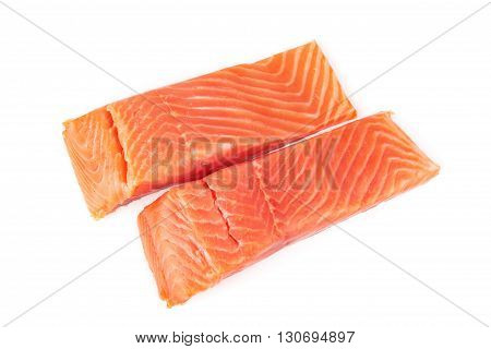 Fillet of salmon vacuum packed isolated on white background
