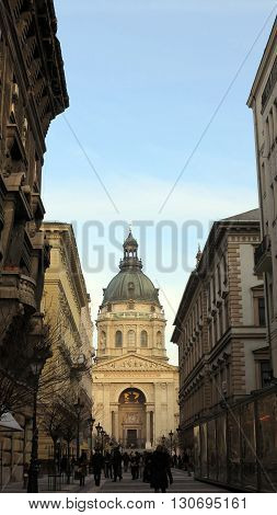 view of basilica st stephen in budapest hungary