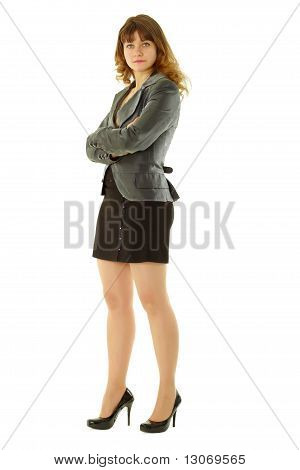 Attractive Girl Standing On A White Background