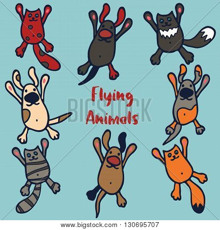 Set of 8 funny flying animals. Happy hand drawn cartoon cats and dogs. Funny colorful pets isolated on light blue background. Decorative elements for poster, print, childrens party or for use as logo