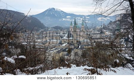view of historic city of salzburg in winter