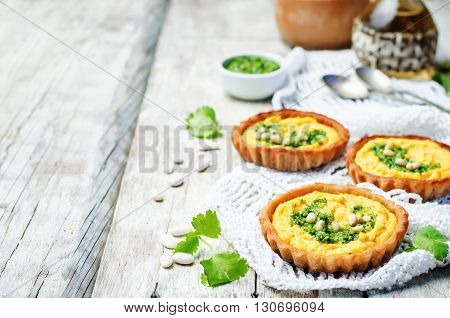 buckwheat tartlets with with white beans carrot hummus and cilantro pesto