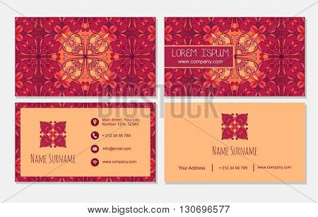 Visiting Card Set Temlate. Vintage Decorative Element. Ornamental Floral Business Cards, Oriental Pa