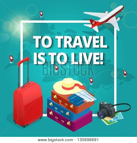 Travel concept. Travel bags, passport, foto camera and travel ticket and airplane in sky. Isometric flat 3d vector illustration