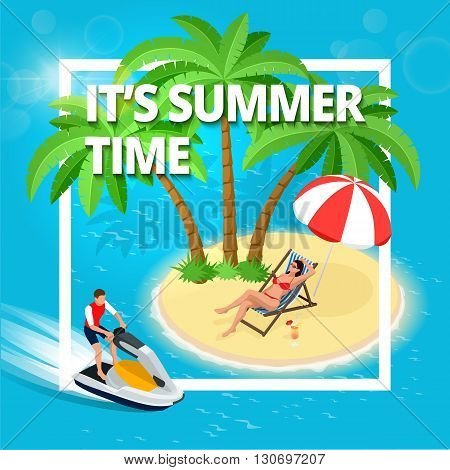 Summer Time. Summer vacation. Vector summer background.  Flat 3d vector isometric illustration