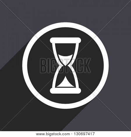 Timer icon. Flat design grey square vector button.