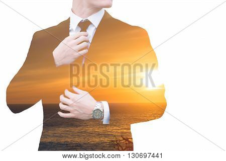 double exposure of businessman and ocean with sunset
