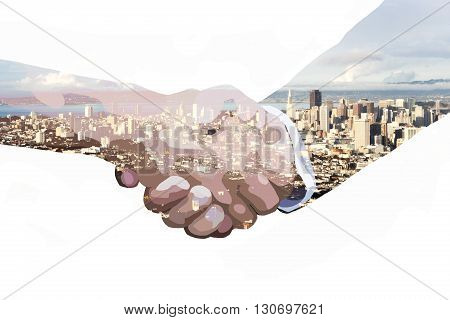 double exposure of handshake and skyline of San Francisco