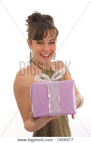 Happy Girl With Gift