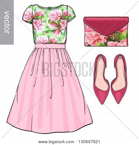 Lady fashion set of spring, winter season outfit. Illustration stylish and trendy clothing. Dress, bag, accessories, sunglasses, high heel shoes. Flower peony watercolor romantic pattern. Vector