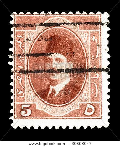 EGYPT - CIRCA 1923 : Cancelled postage stamp printed by Egypt, that shows king Fuad.